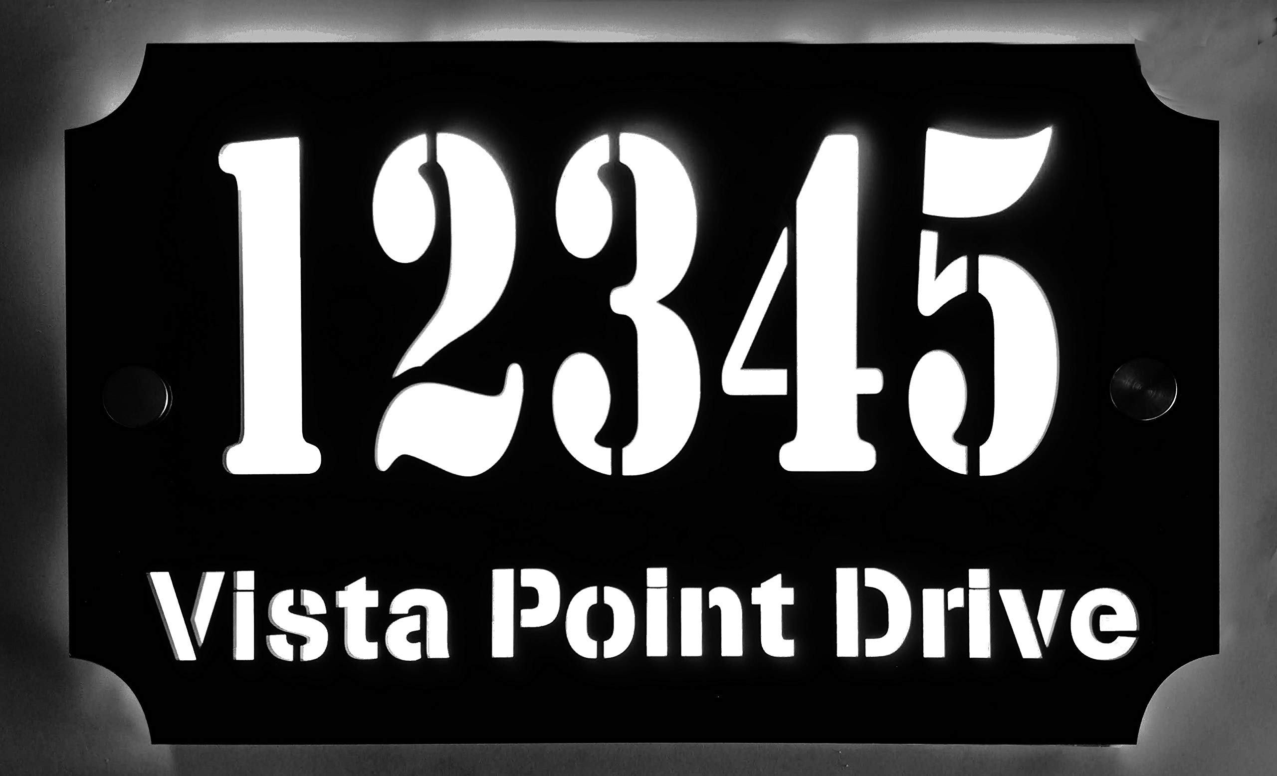 Custom House Address Plaque, LED Illuminated Laser Engraved Acrylic Double Plates Sign, Premium Quality, Stylish and Durable (11''x7'' Rectange, White LED) by THEDISPLAYDEAL