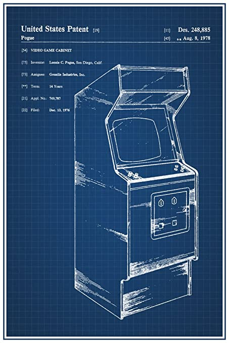 Amazon retro arcade video game cabinet official patent retro arcade video game cabinet official patent blueprint poster 12x18 inch malvernweather Gallery