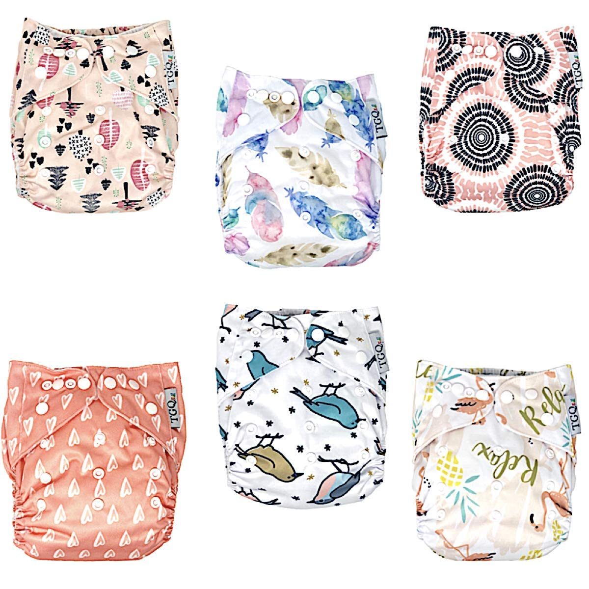 TGQ KIDZ | 6 Cloth Diapers plus 6 Inserts | Washable & 100% cotton| Adjustable Baby Diapers + Reusable| Girl by TGQ KIDZ