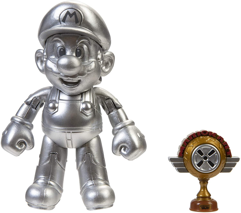 "World of Nintendo 4"" Metal Mario with Trophy Toy Figure"
