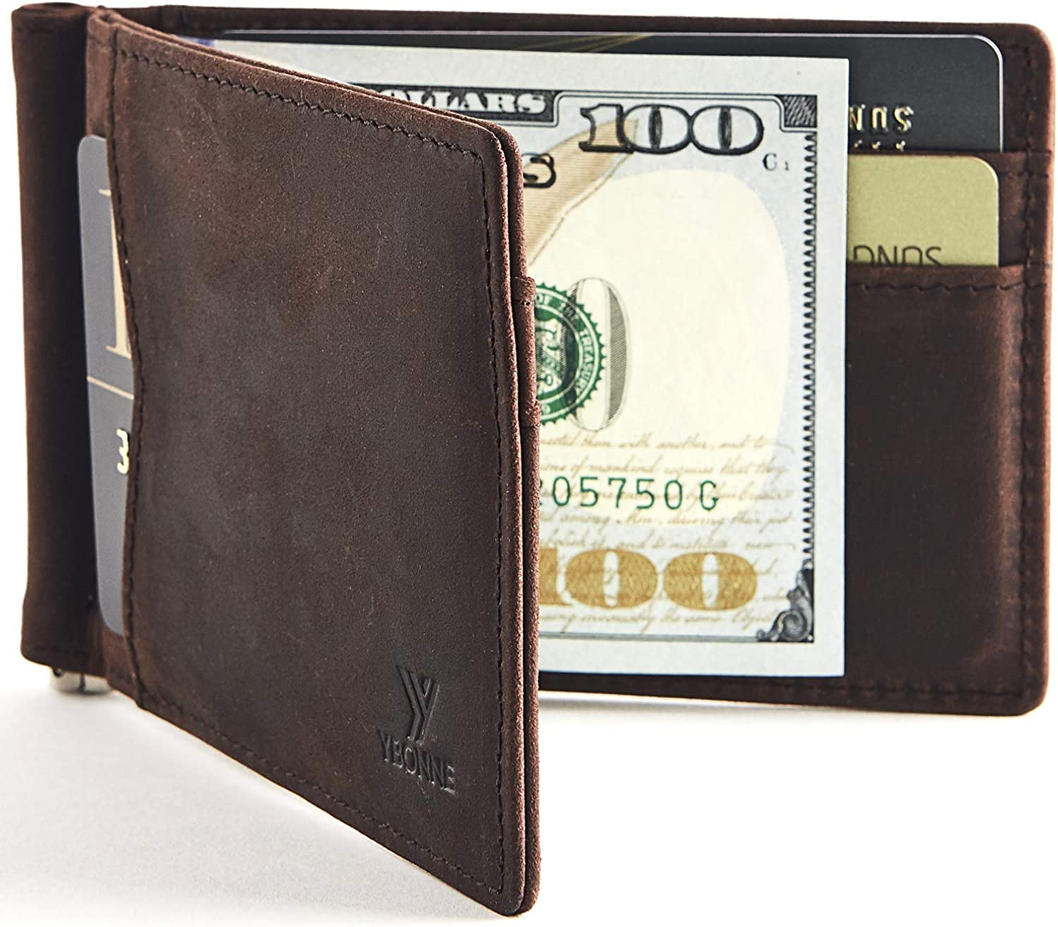 Brown Leather Me/'s Money Clip Wallet Card Holder Slim Thin Mini Short Wallet
