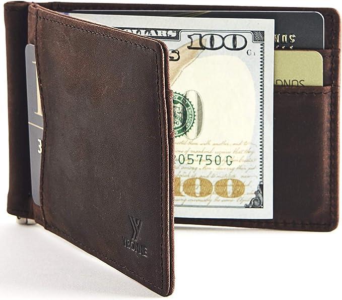 Amazon.com: YBONNE - Cartera fina con clip para dinero, de ...