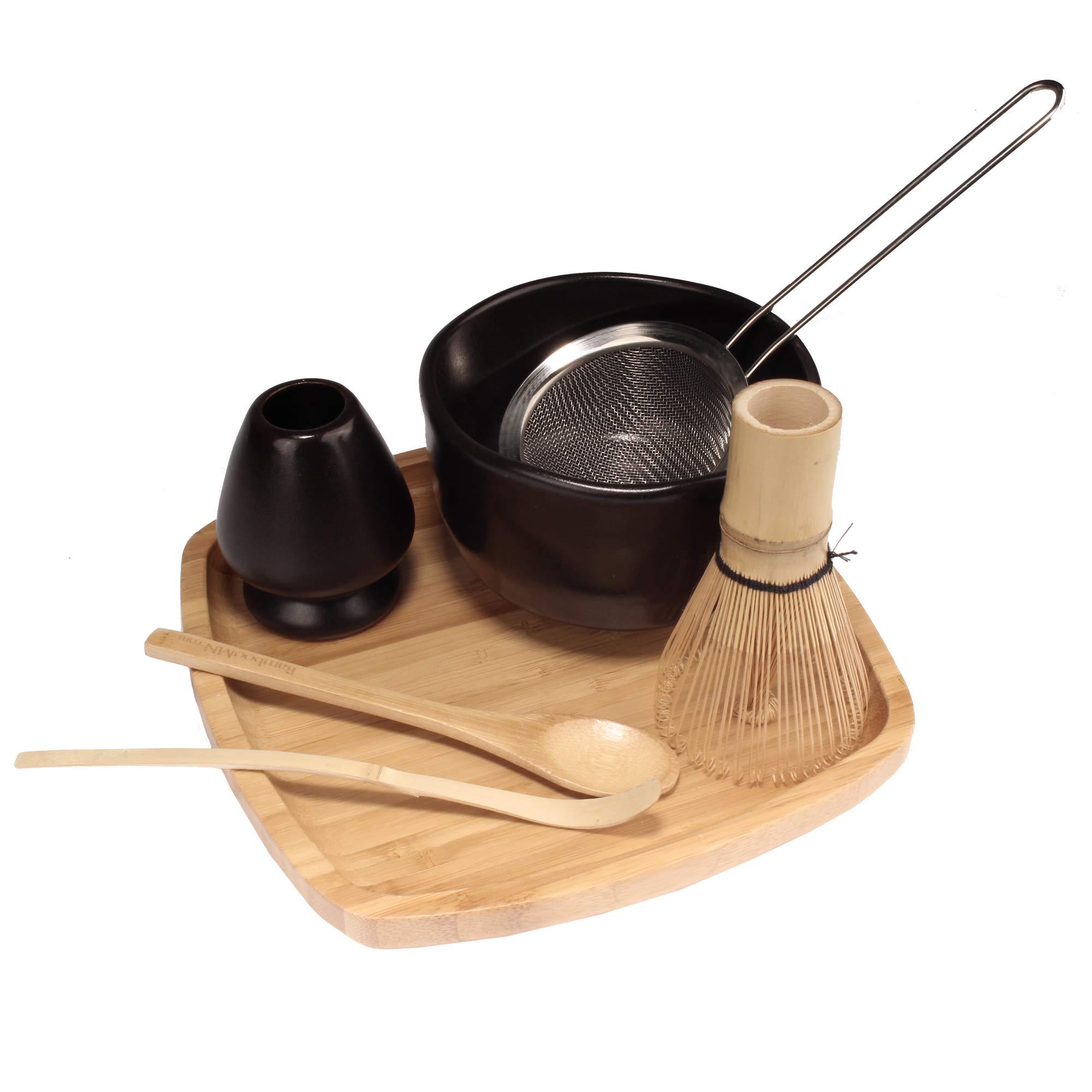 Japanese Ceremonial Matcha Green Tea Whisk Set - Golden Chasen Whisk, Chashaku, Tea Spoon, Black Bowl, Black Rest, Strainer, Tea Tray