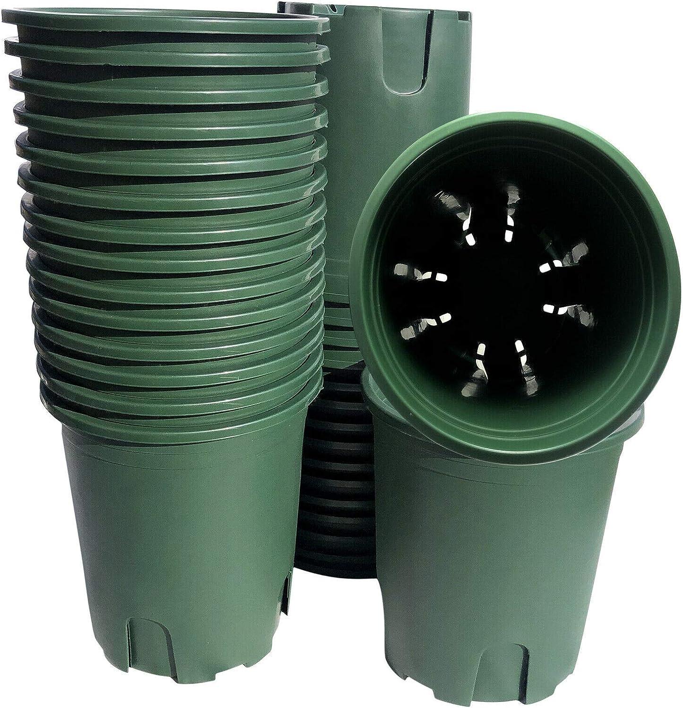 12 pcs / 0.5 Gallon Green Plastic Pots. The Root Control Desige for Vegetable Flower Fruit Nursery Plants Garden Outdoor Indoor