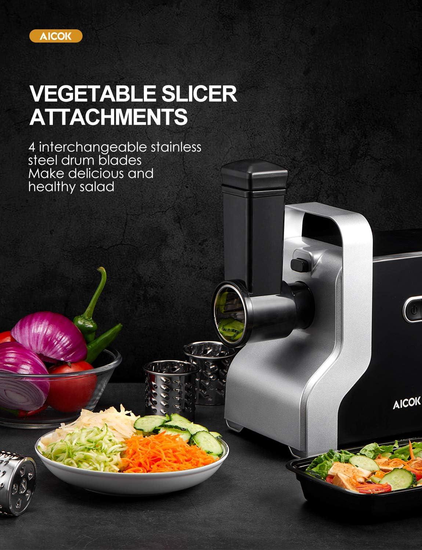 2500W MAX AICOK Hachoir /à viande /électrique 4,5 kg//min Sauce tomate R/âpe 3 plaques de broyage en acier inoxydable 5-EN-1 Hachoir /à viande Machine /à saucisse