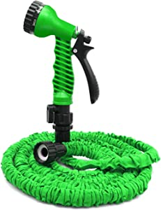 Flantor Garden Hose - 25ft Water Hose, Expandable Garden Hose with 7-Pattern Free Spray Nozzle,Collapsible Hose for Easy Home Storage (25ft, Green)
