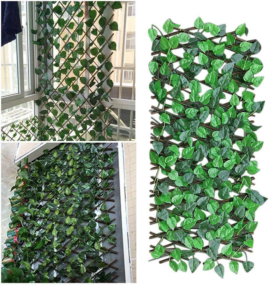 Artificial Garden Plant Fence UV Protected Privacy Screen Expanding Trellis Fence Retractable Fence for Outdoor Indoor Use Garden Fence Backyard Home Decor Greenery Walls