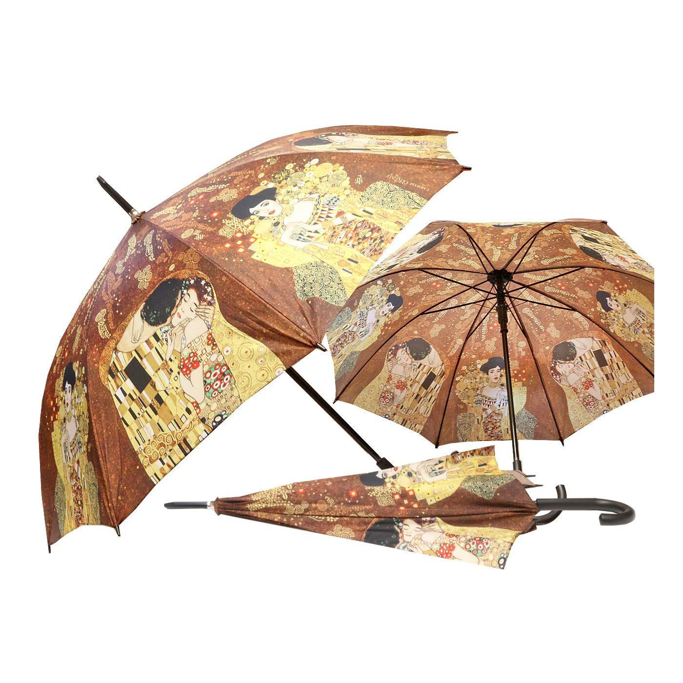 CARMANI - Paraguas manual de 23 pulgadas con cierre abierto y estampado de Gustav Klimt