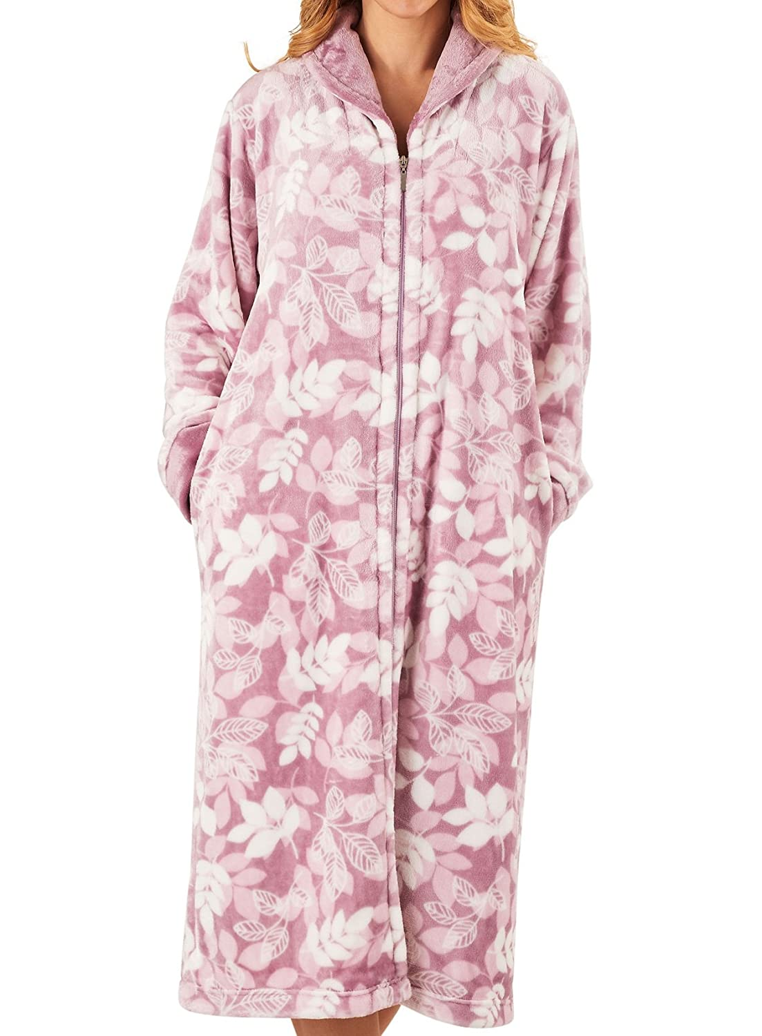 Slenderella Ladies Zip up Dressing Gown Womens Super Soft Leaf Print Bathrobe (Grey Pink)