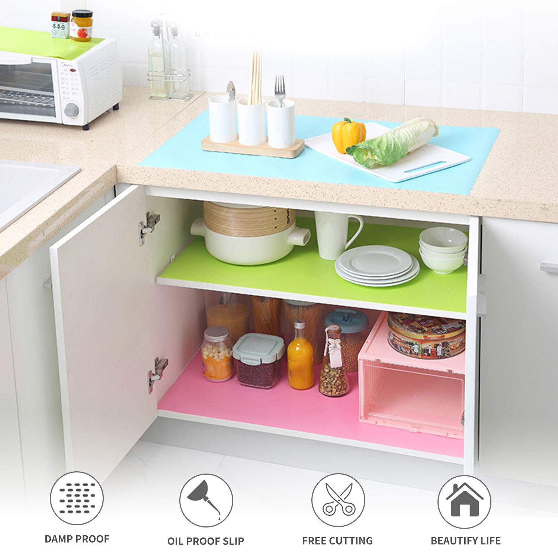 Kereda 45x150CM EVA Placemats Non-Slip Non-Adhesive Waterproof Cupboard Cabinet Pad Drawer Mat Fridge Cushion Anti-Fouling Anti-Moisture for Kitchen Home Office Blue Shelf Liners