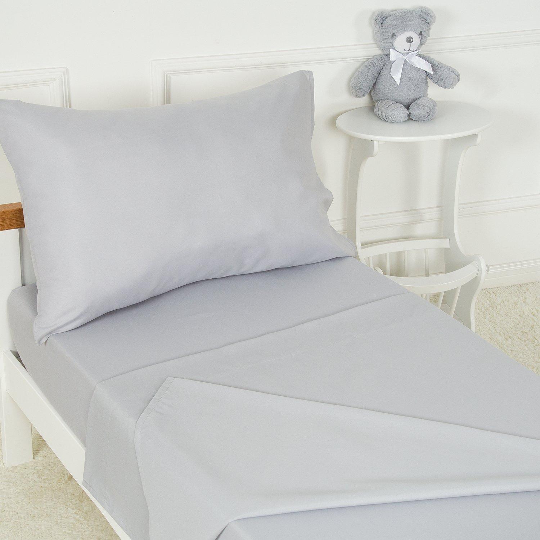 TILLYOU 3-Piece Microfiber Toddler Sheet Set (Light Gray, Fitted Sheet, Top Flat Sheet and Envelope Pillowcase) - Crib Sheets Set Toddler Bed Set - Baby Bedding Sheet & Pillowcase Sets