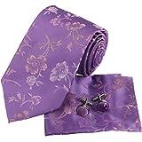 PH1029 Designer Inspired Purple Pink Florals Pattern Silk Mens Necktie and Cuff Links Handkerchiefs Set with Gift Box Set By Epoint