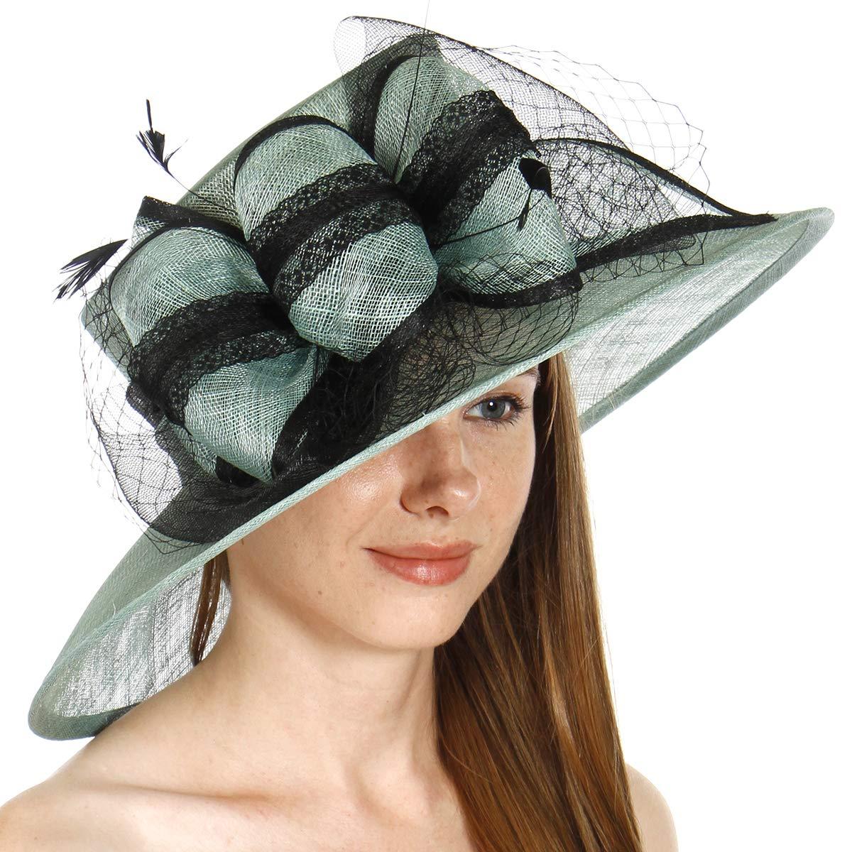 Dress Derby hat Women, for Church Party Kentucky Bridal Wedding Cocktail, Wide Brim Flower Cloche Bucket, Mint 2
