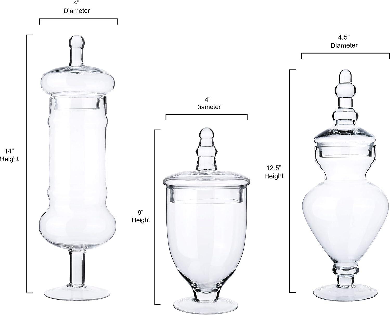Decorative Weddings Candy Buffet Display Elegant Storage Jar Diamond Star Set of 3 Clear Glass Apothecary Jars H: 9, 12.5, 14