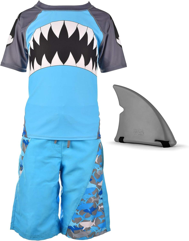 Fin Fun Boys Blue Shark Rash Guard, Board Short, Shark Fin Swim Suit Set