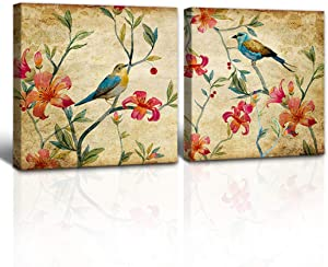 """A Cup of Tea Vintage Birds Flowers Paintings Canvas Art Wall Art Colorful Sparrow Singing on Magnolia Flower Tree Landscape Picture Walls Decor for Living Room Bedroom 12""""x12"""" set of 2 Framed artwork"""