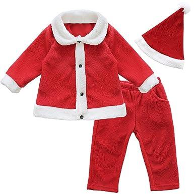 9511fa0f315f0 Freebily Rouge Déguisement Bébé Garçon Père Noël Ensemble de Pyjama Manches  Longues + Bonnet Vêtements de