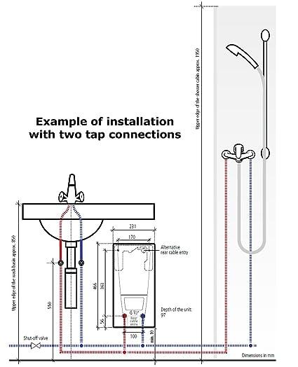 Calentador de flujo controlado electrónicamente calentador de agua eléctrico instantáneo de agua caliente 21 kw: Amazon.es: Bricolaje y herramientas