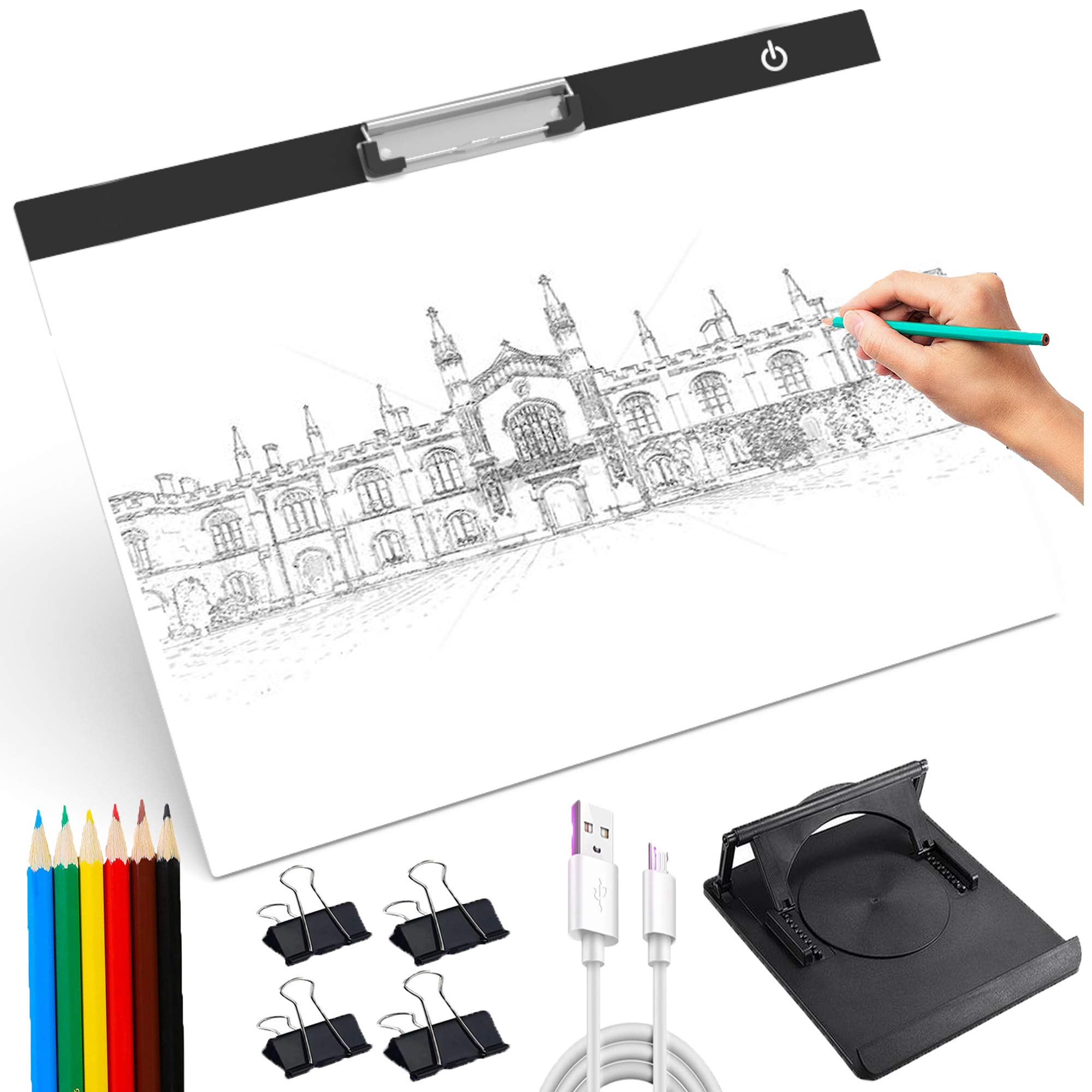A3 Clip Light Box Tracer Kit 5V USB 3 Brightness Adjustment Light Box Bracket Led Light Pad Drawing Tablet,It is Suitable for Printing, 2D Animation, Embossing, Calligraphy,Sketching and Drawing etc. by Jaydear