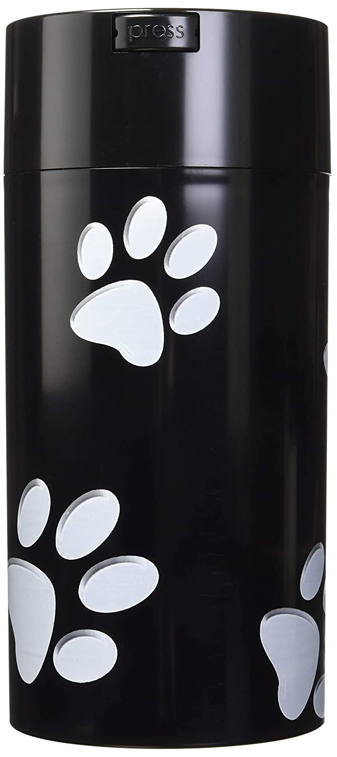 Pawvacs Set of 4 (3, 6, 12, 24 Ounce) Vacuum Sealed Pet Food Storage Containers; Black Cap & Body White Paws