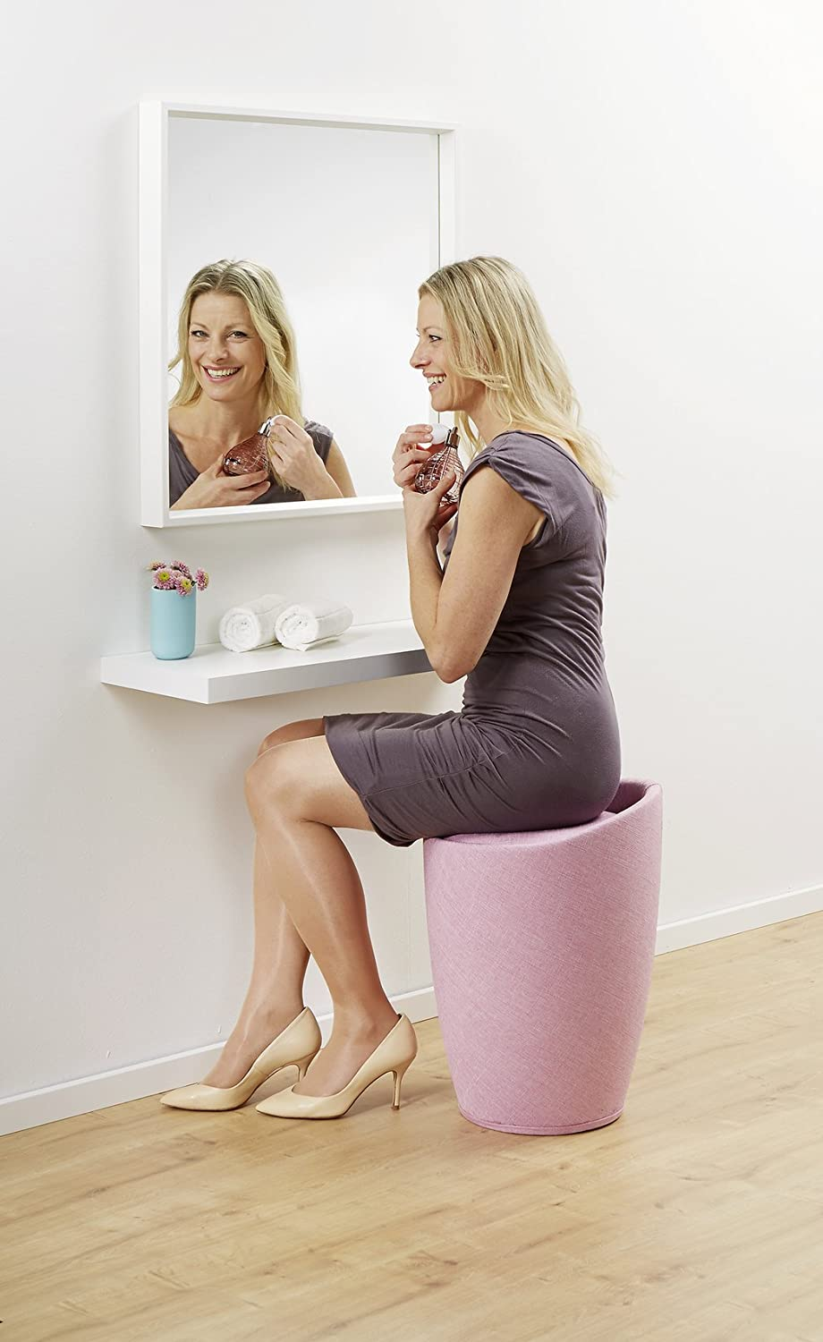Wenko Bathroom stool Candy with linen look in beige, Polyester, 36 x 36 x 50.5 cm Pink