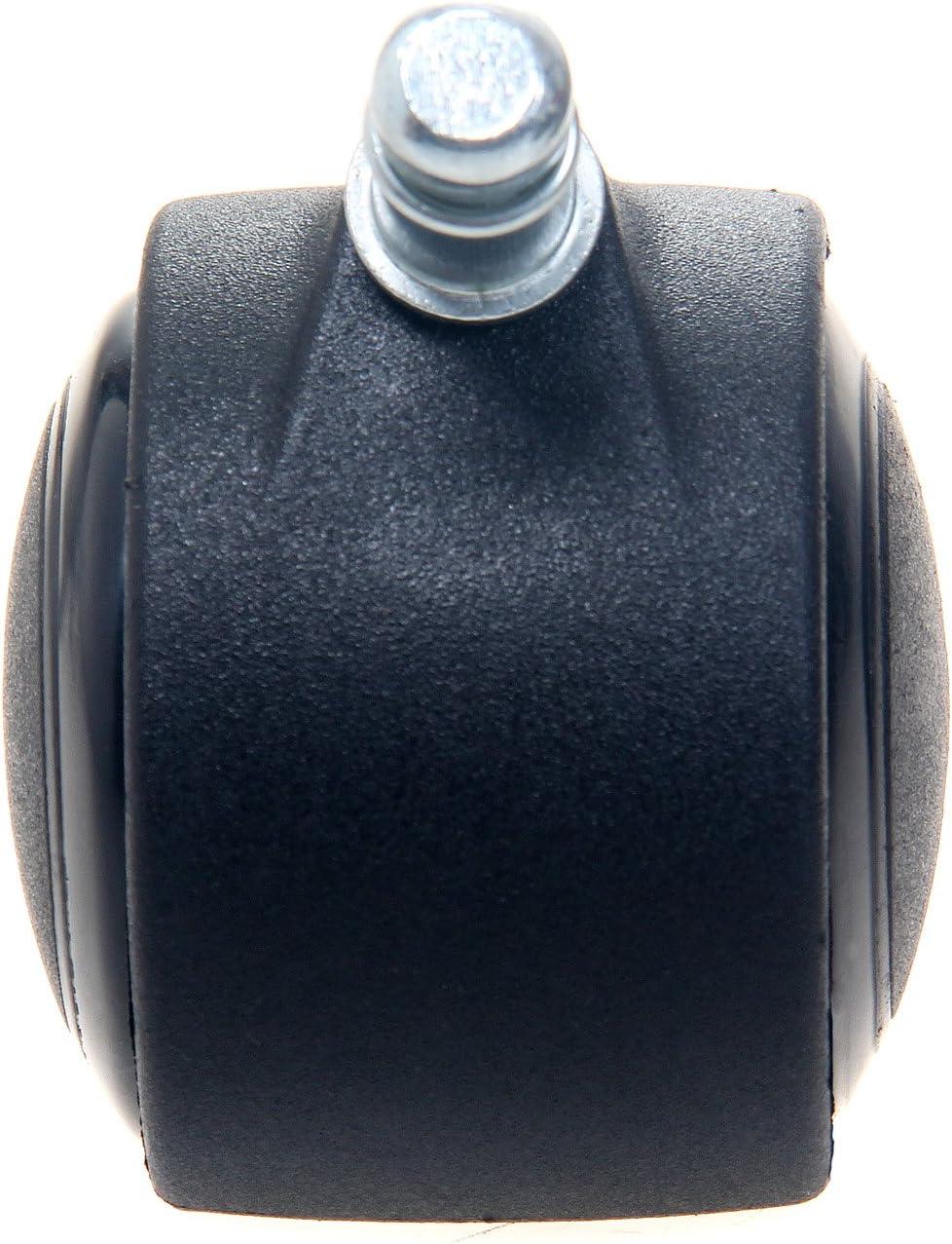 TUKA 5X Harbodenrollen Juego Universal de Ruedas para Suelos Duros 5 Piezas Negro 11 mm Ruedas para sillas de Oficina TKD-3200 Black Giratoria para Sillas de Oficina Piezas de Recambio