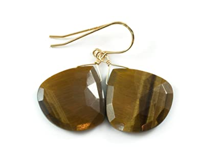 38b03a39 Amazon.com: 14k Gold Filled Tiger's Eye Earrings Heart Faceted Drops ...