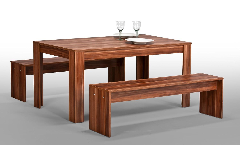 Sitzgruppe Tisch 2x Bank Bänke Esszimmergruppe Esstisch Nussbaum ...