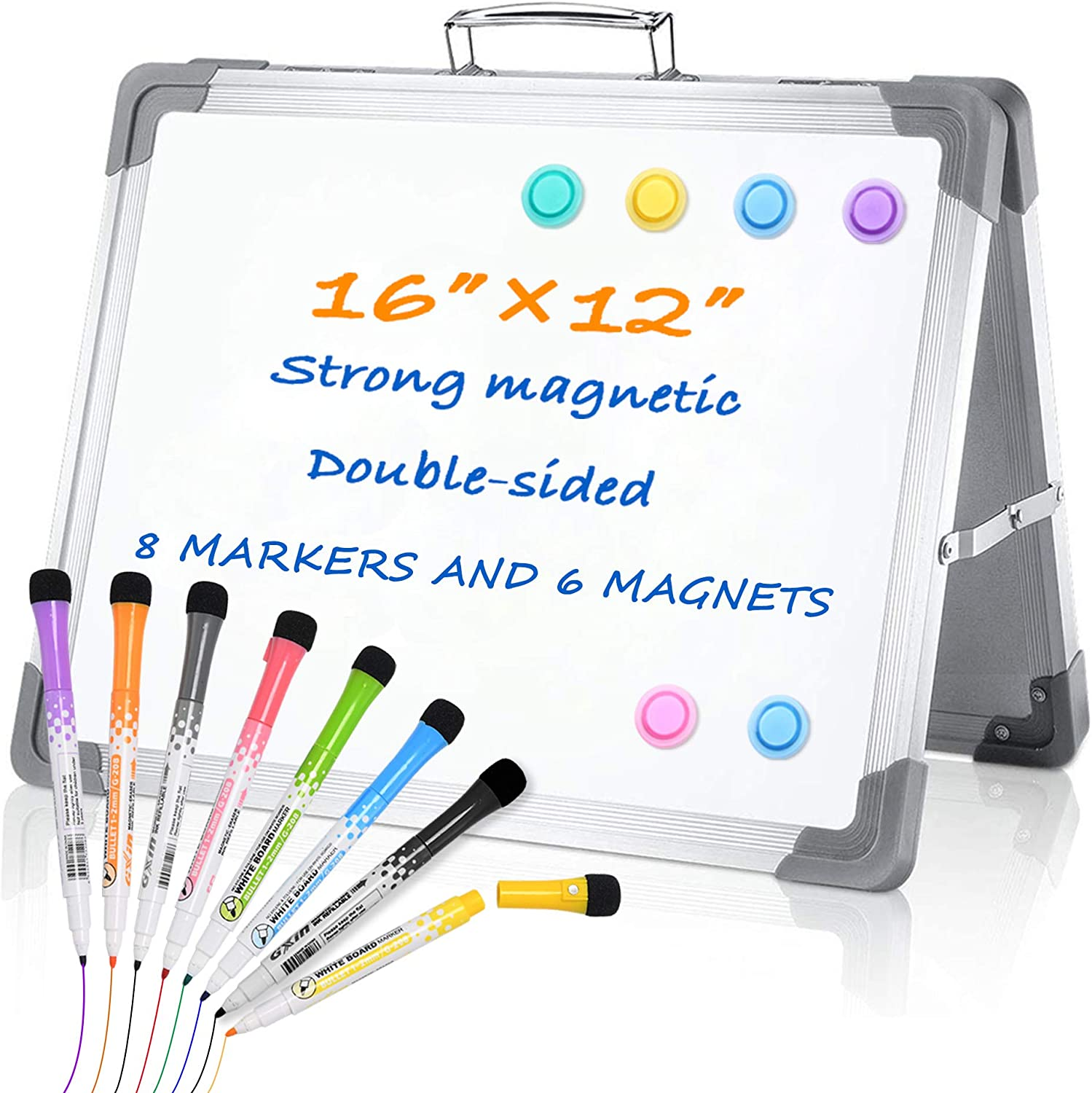 Grope Magnetic Small Dry Erase White Board 16 inches x 12 inches, Foldable Double Sided Mini Whiteboard for Kids, Includes 8 Different Colors Dry Erase Markers, 6 Magnets