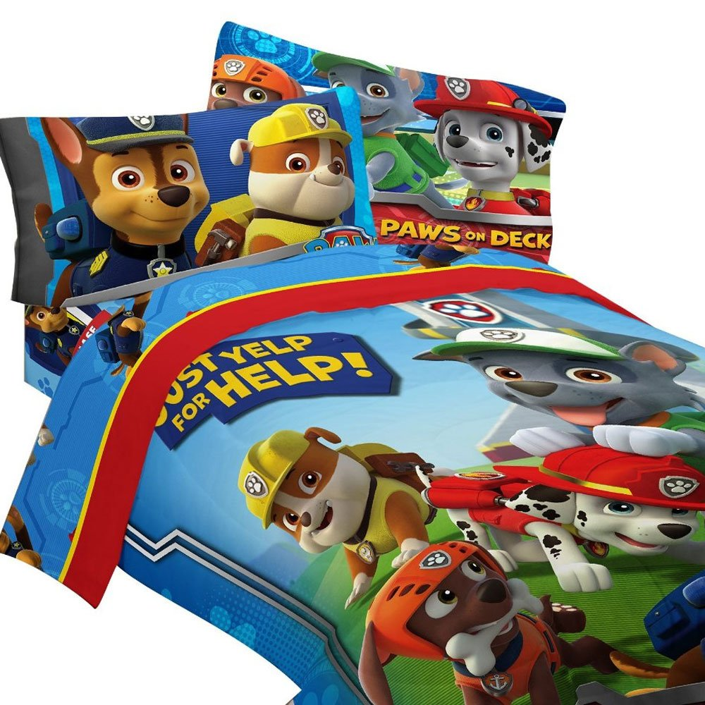 4pc Paw Patrol Twin Bedding Set Ruff Ruff Rescue Comforter and Sheet Set