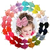 WillingTee 20pcs Baby Nylon Headbands Hairbands Big Hair Bow Elastics for Baby Girls Newborn Infant Toddlers Kids