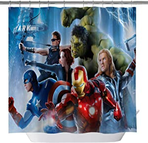 Goodcare The Avengers Shower Curtain for Kids Children Bathroom Spider-Man Iron Man Green Giant Raytheon Hero Decor Waterproof Fabric Shower Curtains with Hooks, 71x71Inch