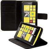 kwmobile Hülle für Nokia Lumia 520 - Wallet Case Handy Schutzhülle Kunstleder - Handycover Klapphülle mit Kartenfach und Ständer Schwarz
