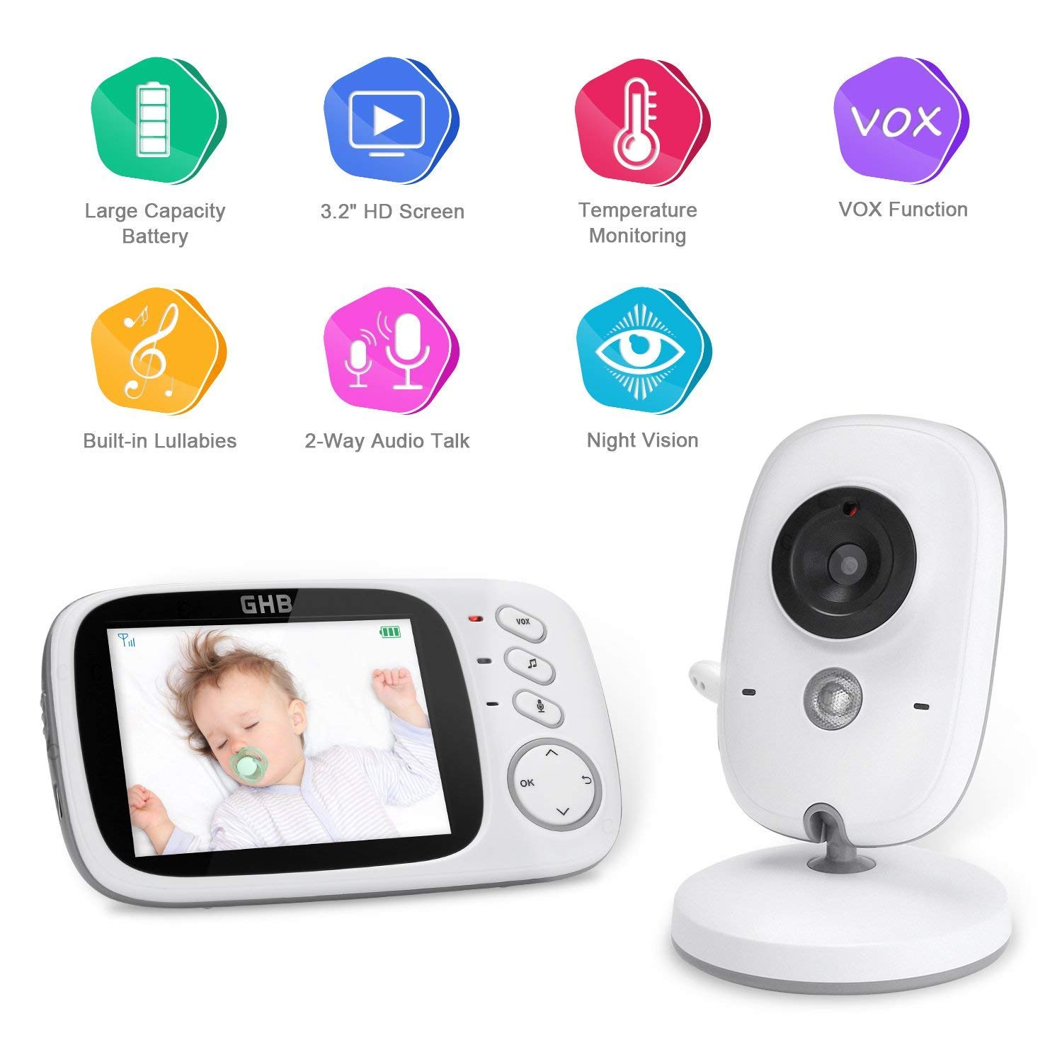 GHB Baby Monitor Camera Video Digital Security 2.4GHz Two Way Realtime Audio Talk Night Vision Temperature Monitoring 2.0 Display Smile&Satisfaction GHB_01