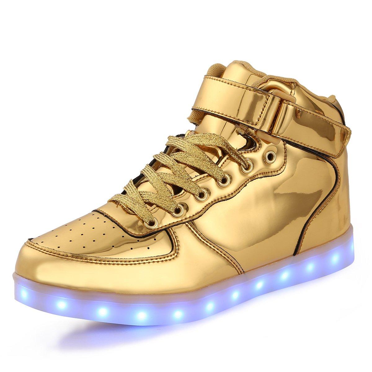 FLARUT Kids High Top LED Shoes Light Up USB Charging Boys Girls Sneakers(US 2 Little Kid/EU 34,Gold)
