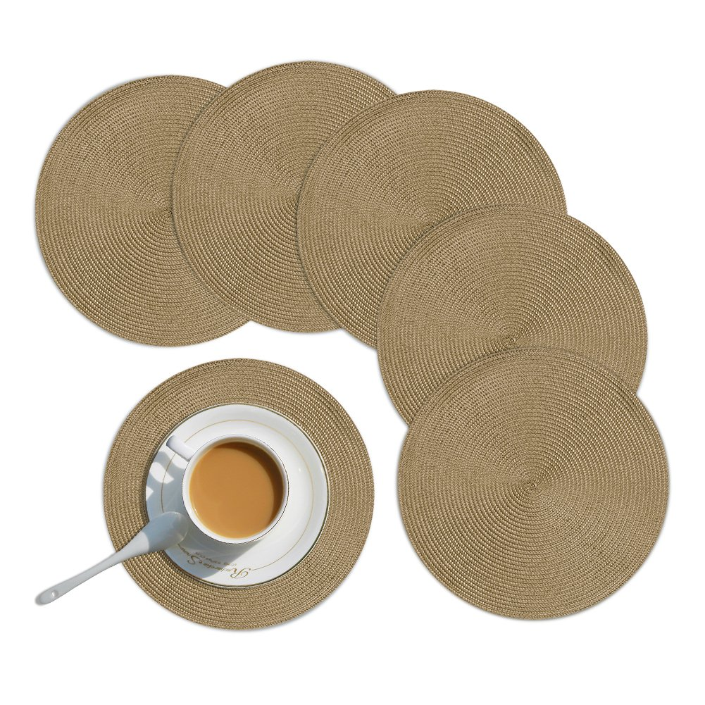 Homcomoda Round Placemats for Dining Table 15 Inch Stain Resistant Braided Edge Round Table Placemats Set of 6(Taupe)