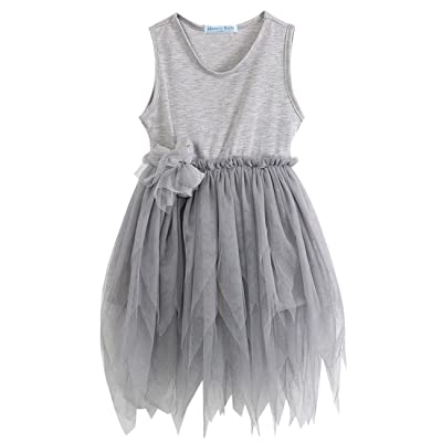 2018 Girls Clothes Kids Vintage Gray Sleeveless Tulle Skirt Kids Party Dress 2-7