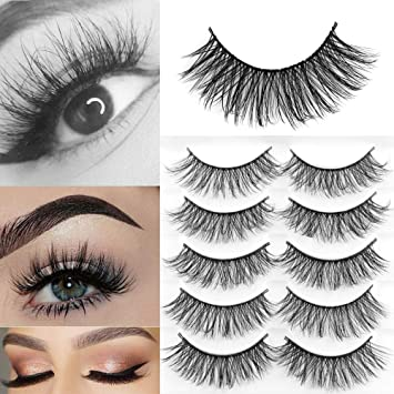 268bc150112 Amazon.com : 5Pairs 3D Soft Mink Hair Wispy Fluffy Natural Long Lashes  Extension Tools Handmade Full Strips : Beauty