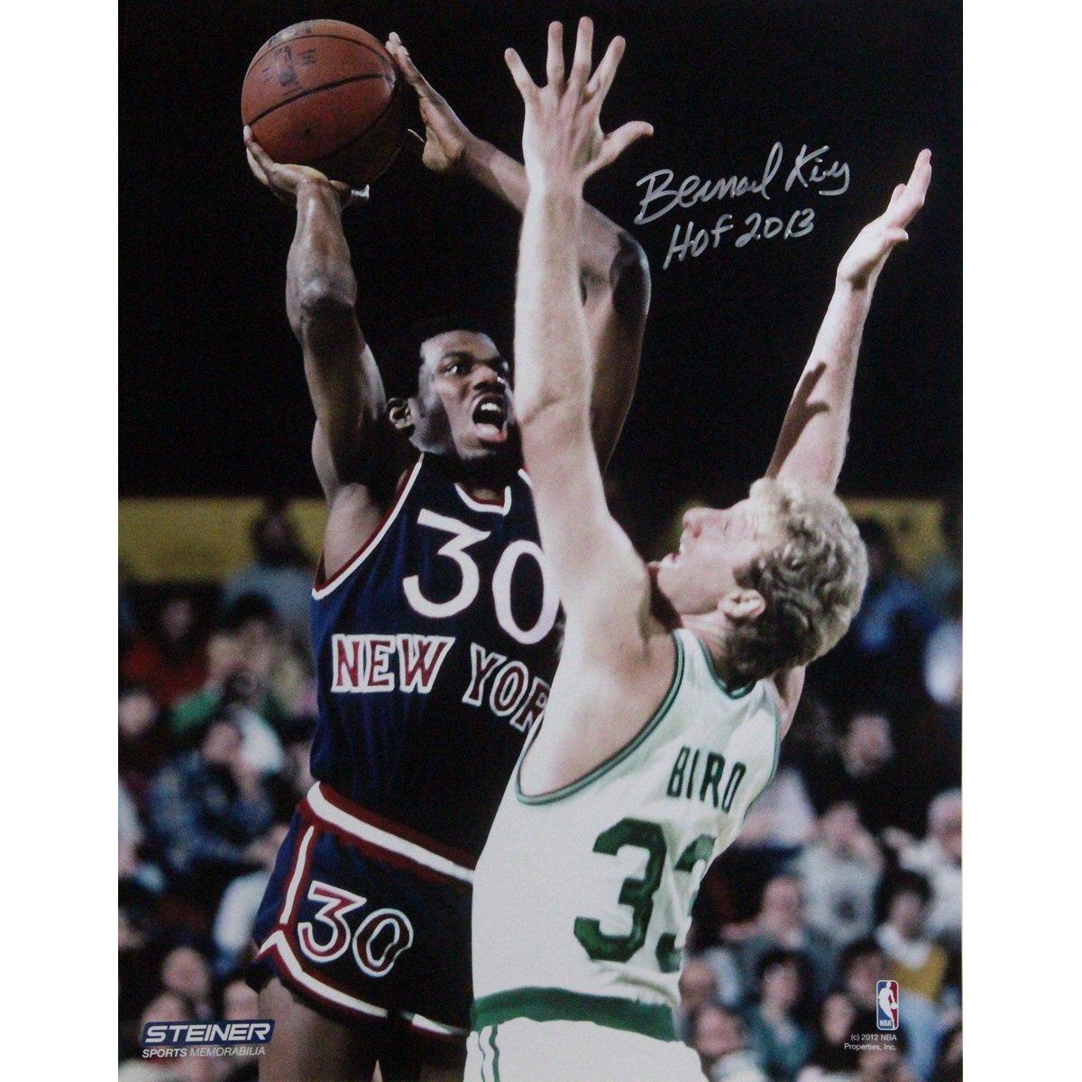 NBA New York Knicks Bernard King署名Jumper Over鳥写真 8x10-Inch  B00EWPNSYE