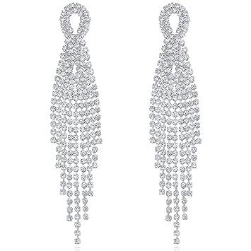 fdbcc6ba06 DMI Gorgeous Jewelry Silver-Tone Alloy Rhinestone Prom Party Tassel Dangle  Earrings