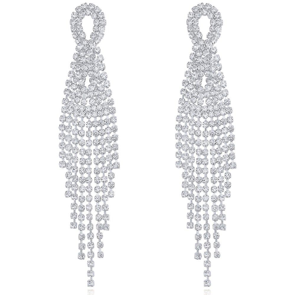 DMI Gorgeous Jewelry Silver-Tone Alloy Rhinestone Prom Party Tassel Dangle Earrings