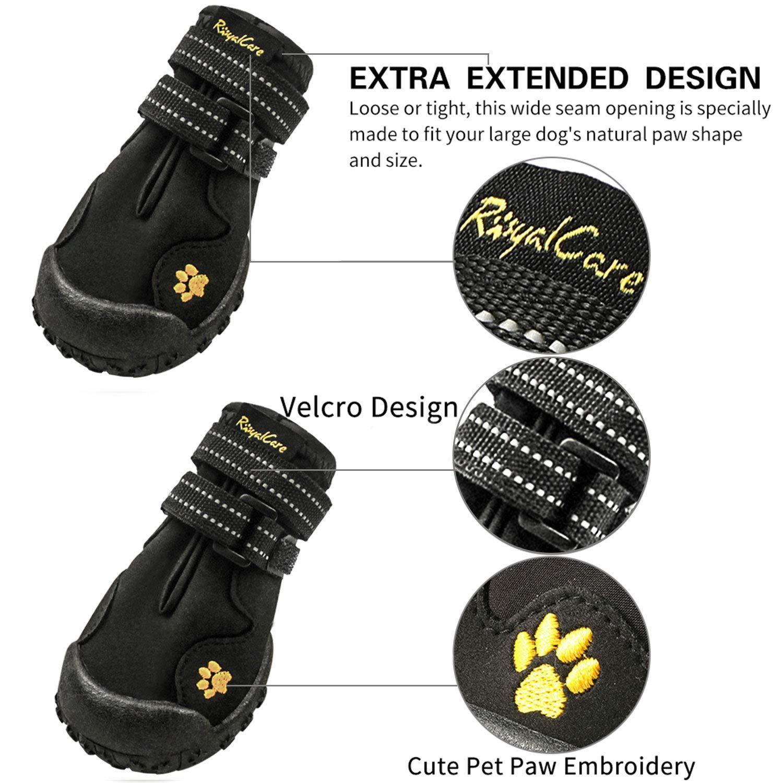 Royalcare Colore: Nero per Cani di Taglia Media e Grande Scarpine per Cani Impermeabili e Antiscivolo