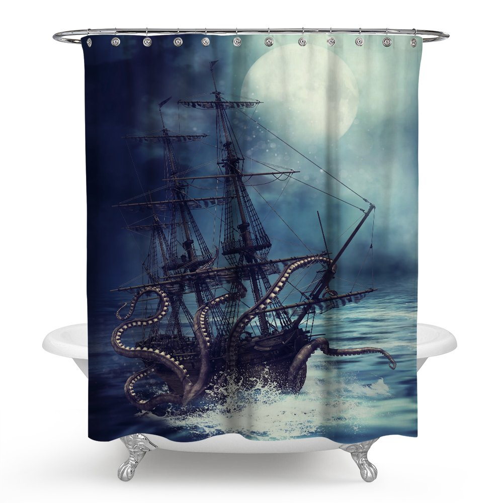 Amazon Nancy123 Waterproof Shower Curtain Pirate Sail Boat Wave Octopus Bathroom Mildew Resistant Home Kitchen