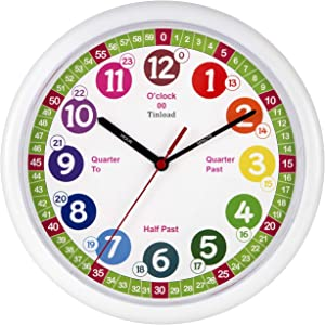 Tinload Telling Time Teaching Clock, 10 inch Silent Movement Analog Learning Clock for Kids, Perfect Room & Wall Decor for Classrooms, Playrooms and Kids Bedrooms (White/Green)