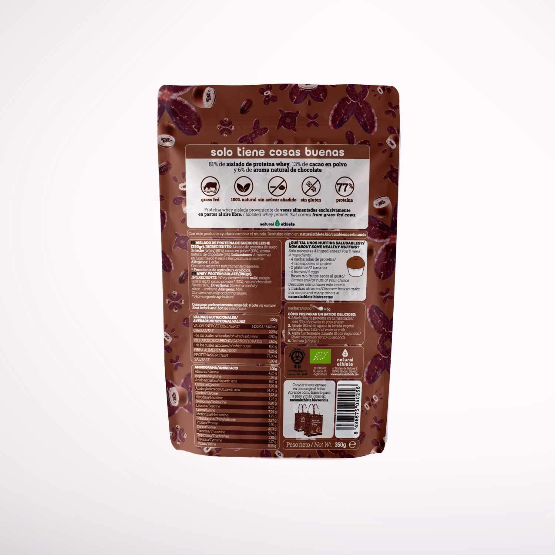 Proteína Whey Chocolate - Natural Athlete - 80% Proteína aislada de leche de vacas de pasto- Grass-fed - 100% Natural- BIO - Sin Gluten - Sin ...