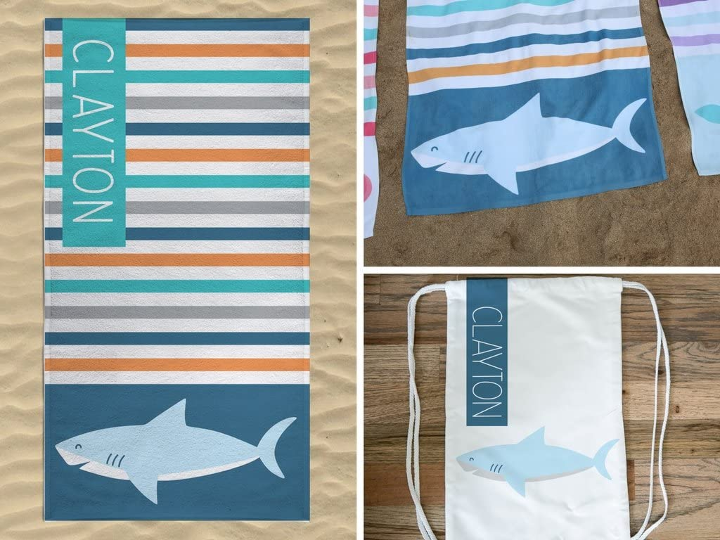 Personalized Shark Beach Towel with Bag, Shark Beach Towel, Shark Drawstring Bag