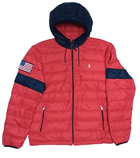 4d7981067cab Ralph Lauren New Polo Men s Down Puffer Jacket RED Navy USA Flag (XL ...