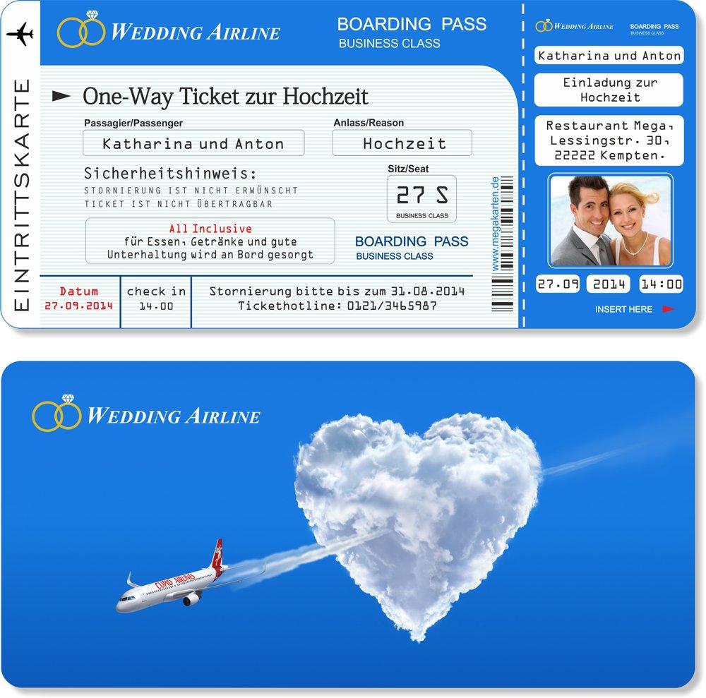 Einladungskarten Einladungskarten Einladungskarten zur Hochzeit als Flugticket mit Abriss-Coupon  90 Stück B00WQ3KU7M | Elegant  0ff712