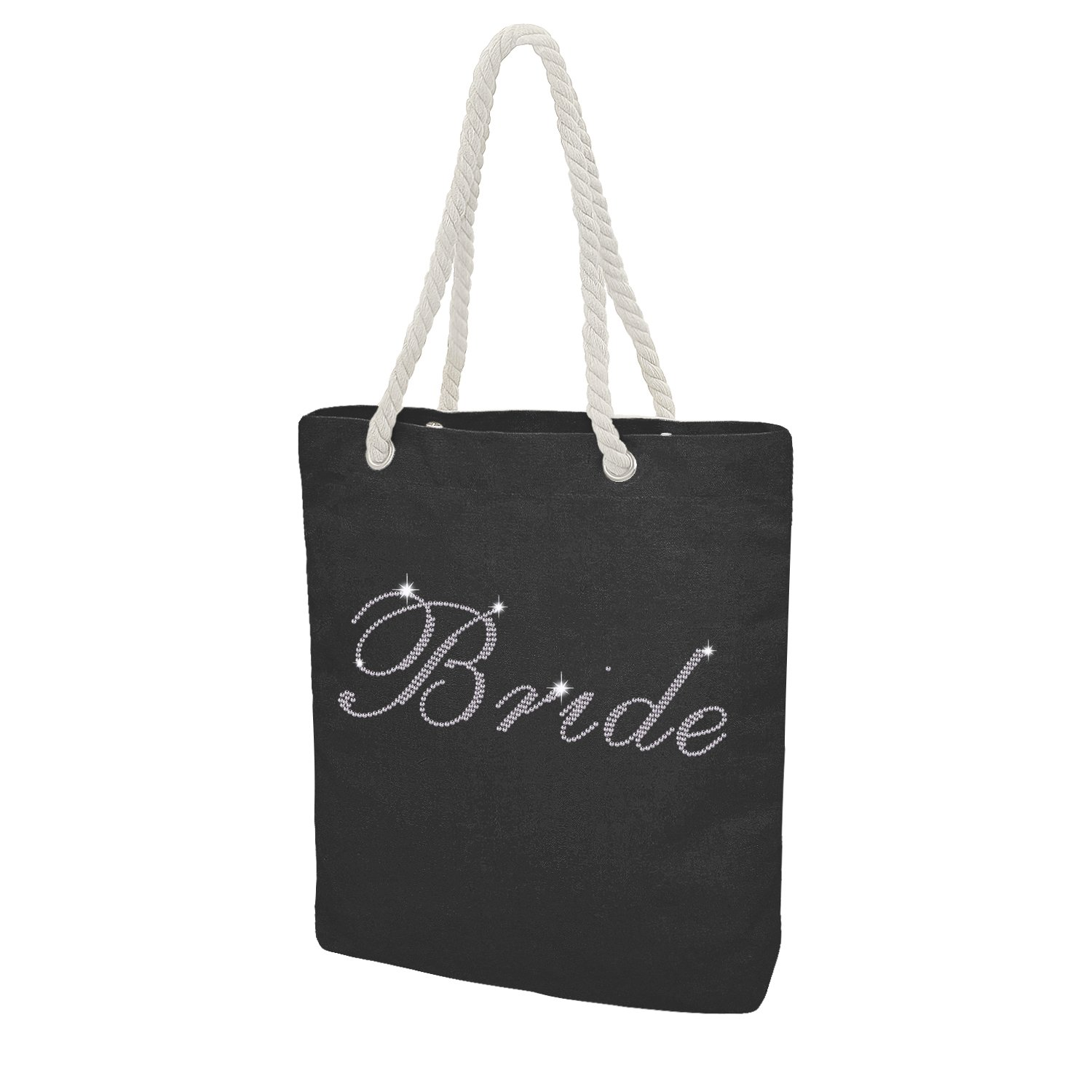Elehere Custom Tote bag Crystal Cotton Bags Rhinestone Bridal Shower Bachelorette Party Gift (Black - Bride)
