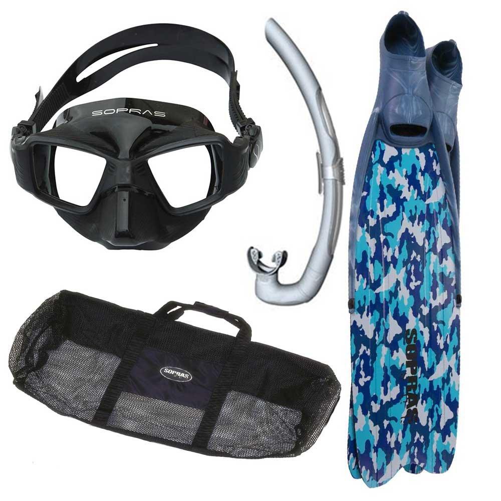 Sopras Apnea Freedivingキットブルー迷彩パッケージのロングフリーダイビングマスクシュノーケルフィンギアバッグスピアフィッシング、12 – 13 B073DKLWDV